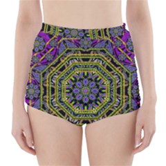 Wonderful Peace Flower Mandala High-Waisted Bikini Bottoms