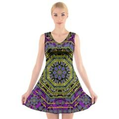 Wonderful Peace Flower Mandala V-Neck Sleeveless Skater Dress