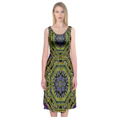 Wonderful Peace Flower Mandala Midi Sleeveless Dress