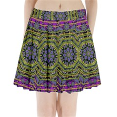 Wonderful Peace Flower Mandala Pleated Mini Skirt