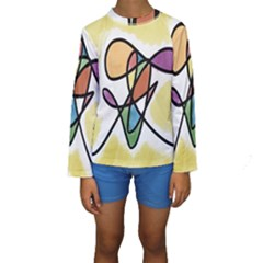 Art Abstract Exhibition Colours Kids  Long Sleeve Swimwear