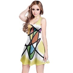 Art Abstract Exhibition Colours Reversible Sleeveless Dress