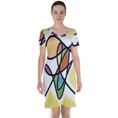 Art Abstract Exhibition Colours Short Sleeve Nightdress