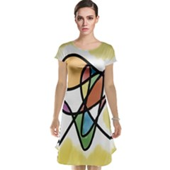 Art Abstract Exhibition Colours Cap Sleeve Nightdress