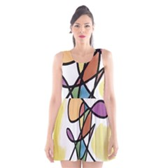 Art Abstract Exhibition Colours Scoop Neck Skater Dress