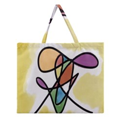 Art Abstract Exhibition Colours Zipper Large Tote Bag
