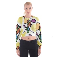 Art Abstract Exhibition Colours Women s Cropped Sweatshirt