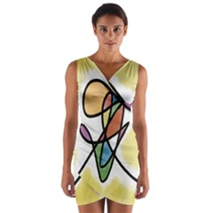 Art Abstract Exhibition Colours Wrap Front Bodycon Dress