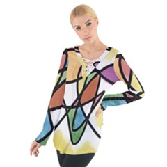 Art Abstract Exhibition Colours Women s Tie Up Tee