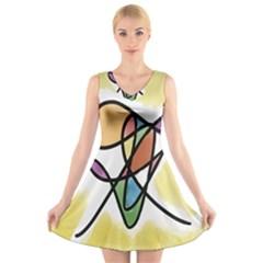 Art Abstract Exhibition Colours V-Neck Sleeveless Skater Dress