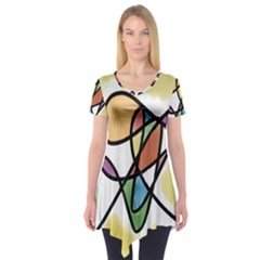 Art Abstract Exhibition Colours Short Sleeve Tunic