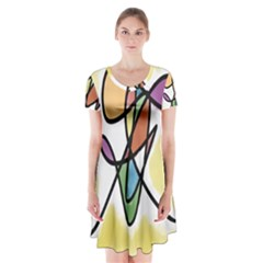 Art Abstract Exhibition Colours Short Sleeve V-neck Flare Dress
