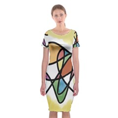 Art Abstract Exhibition Colours Classic Short Sleeve Midi Dress