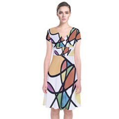 Art Abstract Exhibition Colours Short Sleeve Front Wrap Dress
