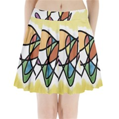 Art Abstract Exhibition Colours Pleated Mini Skirt
