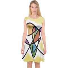 Art Abstract Exhibition Colours Capsleeve Midi Dress