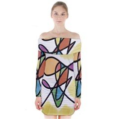 Art Abstract Exhibition Colours Long Sleeve Off Shoulder Dress