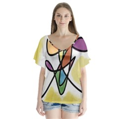 Art Abstract Exhibition Colours Flutter Sleeve Top