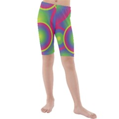 Background Colourful Circles Kids  Mid Length Swim Shorts