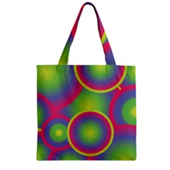 Background Colourful Circles Zipper Grocery Tote Bag