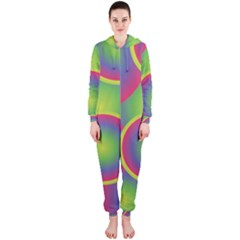 Background Colourful Circles Hooded Jumpsuit (ladies)