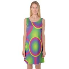 Background Colourful Circles Sleeveless Satin Nightdress