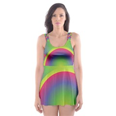 Background Colourful Circles Skater Dress Swimsuit
