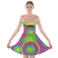 Background Colourful Circles Strapless Bra Top Dress