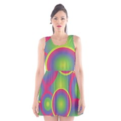 Background Colourful Circles Scoop Neck Skater Dress