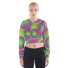 Background Colourful Circles Women s Cropped Sweatshirt