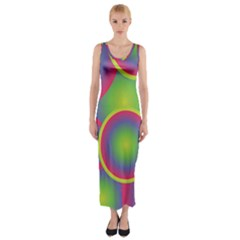 Background Colourful Circles Fitted Maxi Dress