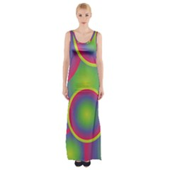 Background Colourful Circles Maxi Thigh Split Dress
