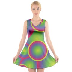Background Colourful Circles V Neck Sleeveless Skater Dress