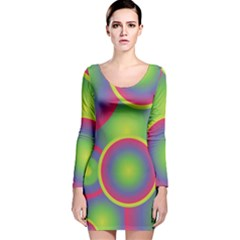Background Colourful Circles Long Sleeve Velvet Bodycon Dress