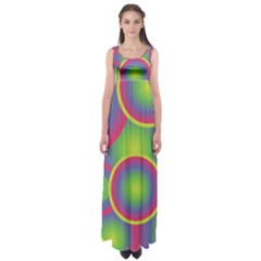 Background Colourful Circles Empire Waist Maxi Dress
