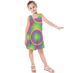 Background Colourful Circles Kids  Sleeveless Dress