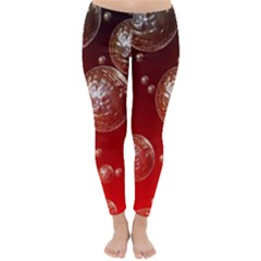 Background Red Blow Balls Deco Classic Winter Leggings