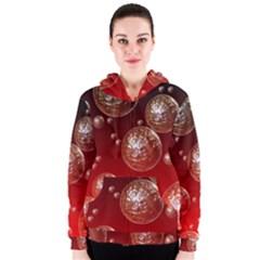 Background Red Blow Balls Deco Women s Zipper Hoodie