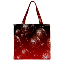 Background Red Blow Balls Deco Zipper Grocery Tote Bag