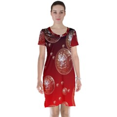 Background Red Blow Balls Deco Short Sleeve Nightdress