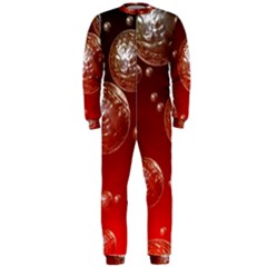 Background Red Blow Balls Deco OnePiece Jumpsuit (Men)