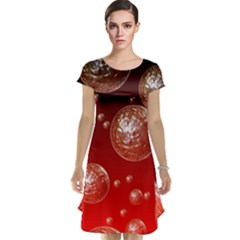 Background Red Blow Balls Deco Cap Sleeve Nightdress