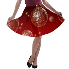 Background Red Blow Balls Deco A-line Skater Skirt
