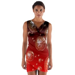 Background Red Blow Balls Deco Wrap Front Bodycon Dress