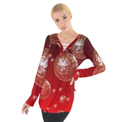 Background Red Blow Balls Deco Women s Tie Up Tee