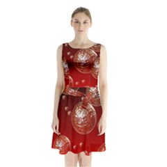 Background Red Blow Balls Deco Sleeveless Chiffon Waist Tie Dress