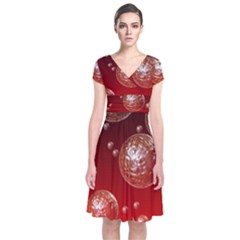 Background Red Blow Balls Deco Short Sleeve Front Wrap Dress