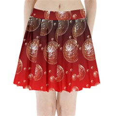 Background Red Blow Balls Deco Pleated Mini Skirt