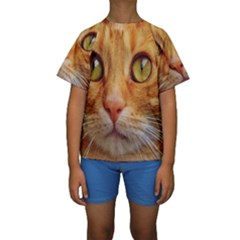 Cat Red Cute Mackerel Tiger Sweet Kids  Short Sleeve Swimwear