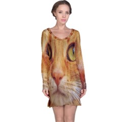 Cat Red Cute Mackerel Tiger Sweet Long Sleeve Nightdress